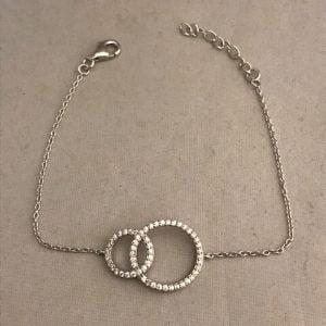 Zilveren armband 925 met dubbele cirkels bezet met zirkonia's
