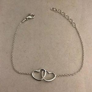 Zilveren armband 925 met dubbele hartbedels