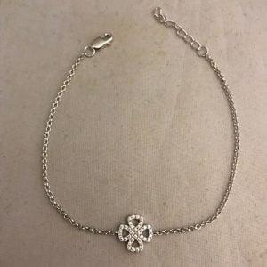 Zilveren armband 925 met een bloem bezet met zirkonia's