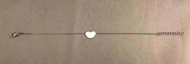 Zilveren armband 925 met een hartbedel