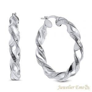 Juwelier Emo - Wokkel oorbellen met Meandros - Zilver 925 - 42 mm