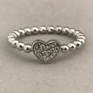 Zilveren Hartring 925 met Basic hartje incl Zirkonia stenen