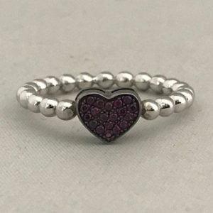 Zilveren Hartring 925 met Donker Rood hartje incl Zirkonia stenen