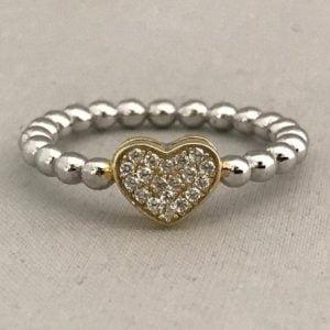 Zilveren Hartring 925 met Geel hartje incl Zirkonia stenen