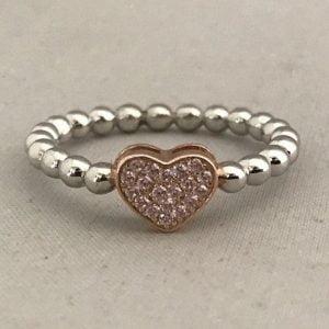 Zilveren Hartring 925 met Rosé hartje incl Zirkonia stenen
