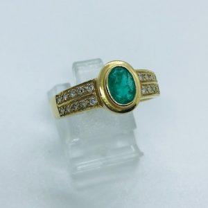18kt Geelgouden Vintage Ring met Smaragd 1.10crt en Briljanten 0,20crt - 950eu