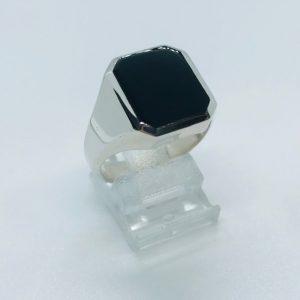 Heren zegelring Onyx zilver bewerking poli maat 19.50