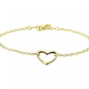 Zilveren enkelbandje goudkleurig hart