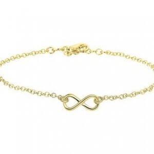 Zilveren enkelbandje infinity goudkleurig