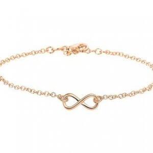 Zilveren enkelbandje infinity rosé
