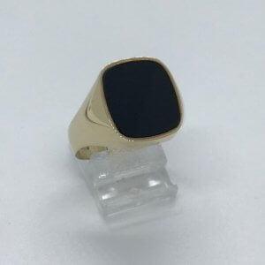 14KT Geelgouden Zegelring met ONIX steen 4.9 gram