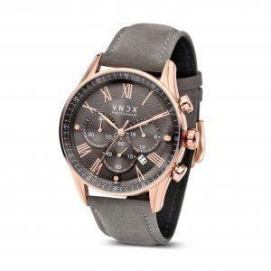The Boss Leather Rose Gold Grey LR33056-16 Grey strap