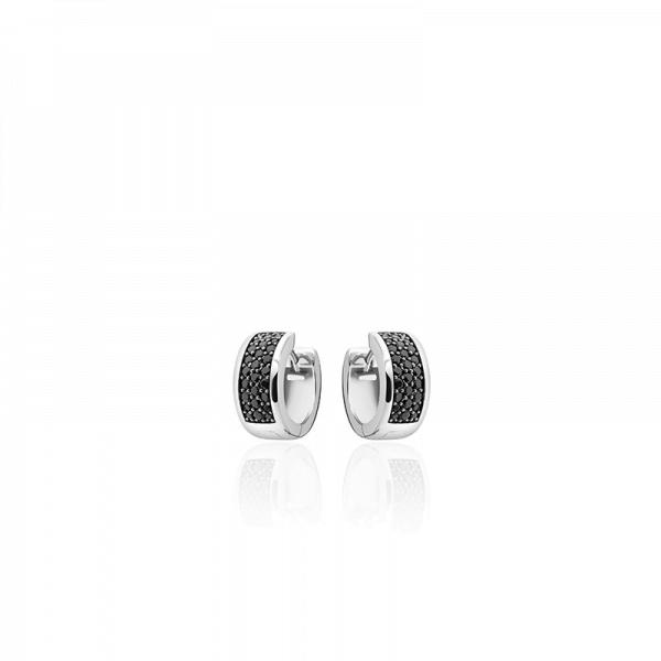 Creolen Zilver met Zwarte Zirkonia's - Zilver - Breedte 3 MM - Diameter 20 MM