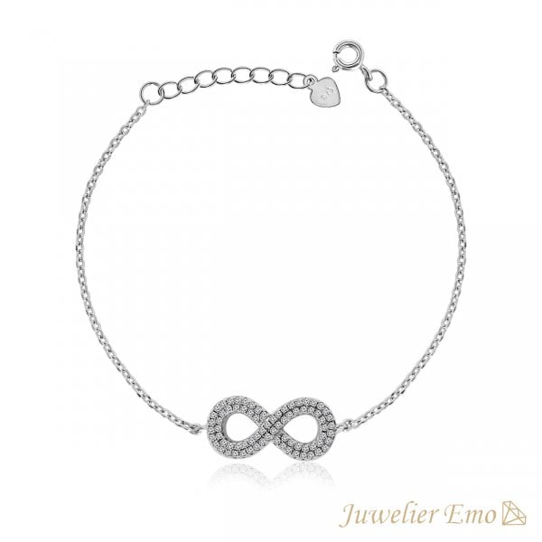 Infinity armband bezet met Zirkonia's - Zilveren Armband Dames - LENGTE 20 CM