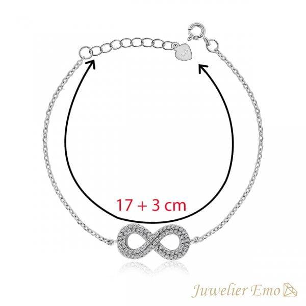 Infinity armband bezet met Zirkonia's - Zilver - 17 + 3 cm