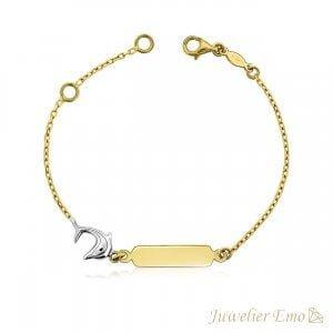 KIDS| 14K Gouden Bicolor armband met Dolfijn