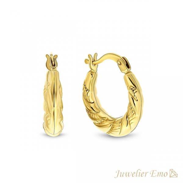 14 karaat Gouden Dames Oorbellen met bewerking - 14 mmbewerking - 14 mm
