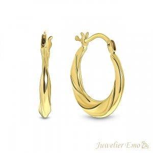 14 Karaat Geelgouden Twister oorbellen Dames - 17 mm