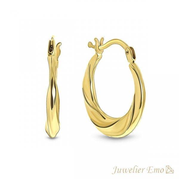 14 Karaat Geelgouden Twister oorbellen - 17 mm
