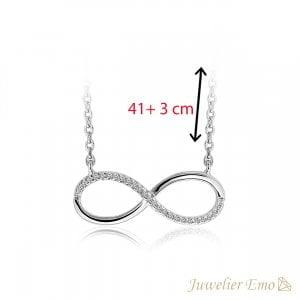 Infinity Ketting met Zirkonia's - Zilver - 41 + 3 cm