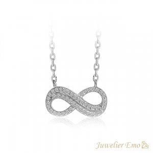Infinity Model Ketting bezet met Zirkonia stenen - Zilveren Ketting met hanger - 45 CM