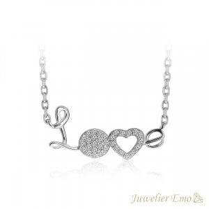 LOVE Ketting met Zirkonia stenen - Zilveren Ketting met hanger - Zilver 925 - 45 CM