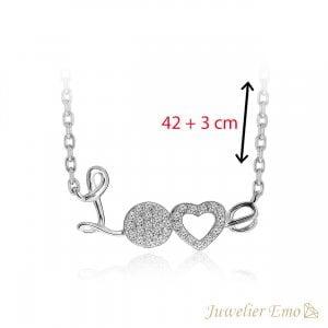 LOVE Collier met Zirkonia's - Zilver - 42 + 3 cm
