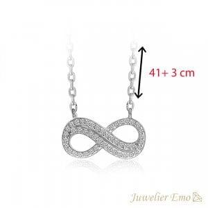 Infinity Collier met Zirkonia's - Zilver - 41 + 3 cm
