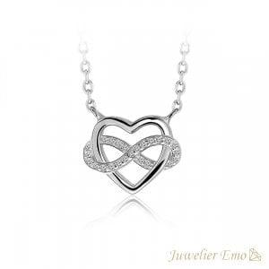 Juwelier Emo - Hart & infinity Ketting Zilver met Zirkonia's - Zilveren Ketting met hanger - 45 CM