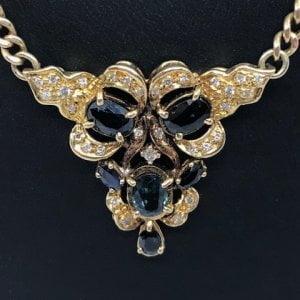 14K Geelgouden Vintage Collier - 5.00 crt. Saffier & 0.50crt. Briljanten