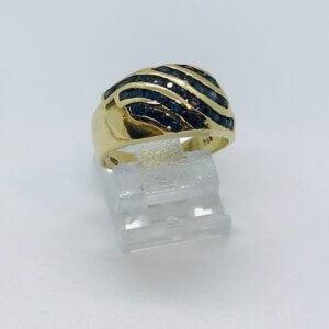 18 Karaat Geelgoud - VINTAGE FANTASIE RING - 0.35crt Saffier