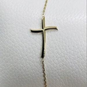 14 Karaat Geelgouden Armband met Kruis Hanger - 20 cm