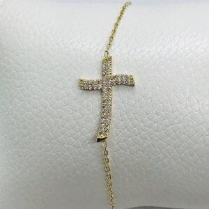 14 Karaat Geelgouden Armband met Kruis Hanger bezet met Zirkonia's - 20 cm
