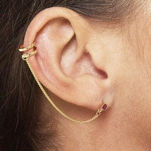 Jean Style - Doublé Earcuff Chain - Zilverkleurig