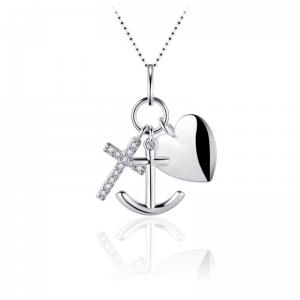 Suzy Style - Hoop, geloof en Liefde Ketting Zilver - 01447