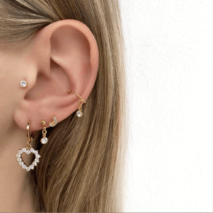 Jean Style - Earring Diamond Love - Goudkleurig - 15mm