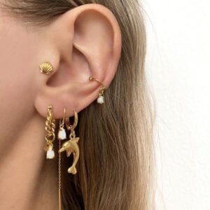 Jean Style - Earring Dolphin - Goudkleurig - 15mm