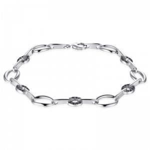 Suzy Style - Fantasie armband Sterling Zilver met zwarte Zirkonia's - 01470