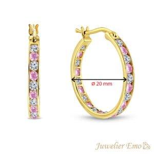 14 Karaat Gouden Kinderoorbellen meisje met Roze Zirkonia stenen - KIDS - 20 mm