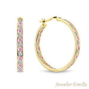 14 Karaat Gouden Kinderoorbellen meisje met Roze Zirkonia stenen - KIDS - 27 mm