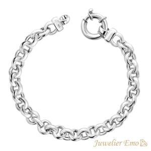 Armband Zilver - Jasseron schakelarmband gerhodineerd Zilver - 8mm