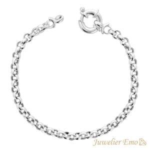 Armband Zilver - Jasseron schakelarmband gerhodineerd Zilver - 4,5 mm