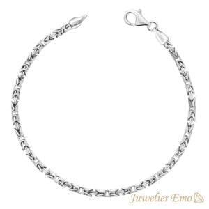 Armband Zilver - Vierkante Koningsarmband Zilver gerhodineerd - 2,5 mm