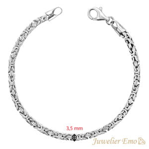 Armband Zilver - Vierkante Koningsarmband Zilver gerhodineerd - 3,5 mm - MEDIUM
