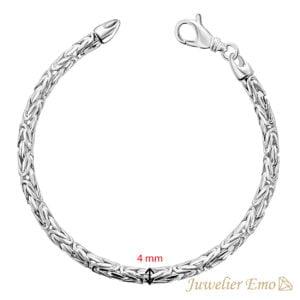 Armband Zilver - Ronde Koningsarmband Zilver gerhodineerd - 4 MM - LARGE
