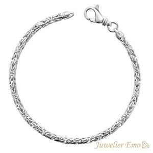 Armband Zilver - Ronde Koningsarmband Zilver gerhodineerd - 3,5 MM - MEDIUM