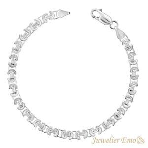Armband Zilver - Platte Koningsarmband Zilver gerhodineerd - 5 MM