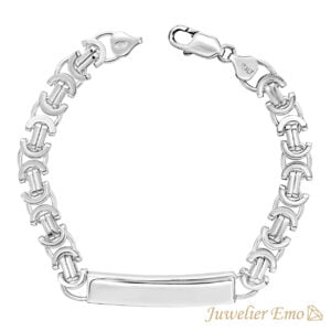 Armband Zilver - Platte Koningsarmband Zilver met Graveerplaat - 8 MM