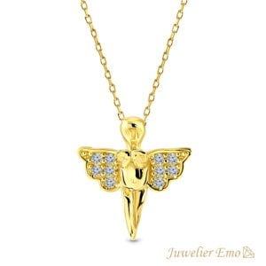Gouden Engel hanger met Zirkonia's - 14 karaat - 42 CM