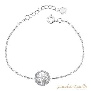 Geluksboom Armband met Zirkonia's - Zilveren Armband met hanger - 19 CM